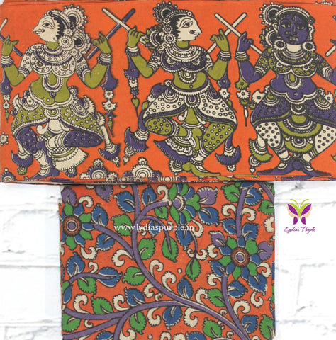 OKBB01- orange dancing doll kalamkari border paired with floral kalamkari blouse - Lydiaspurple
