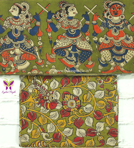 PGKBB01-pista green dancing doll kalamkari border paired with floral kalamkari blouse - Lydiaspurple