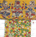KKYBB01-yellow dancing doll kalamkari border paired with floral kalamkari blouse - Lydiaspurple