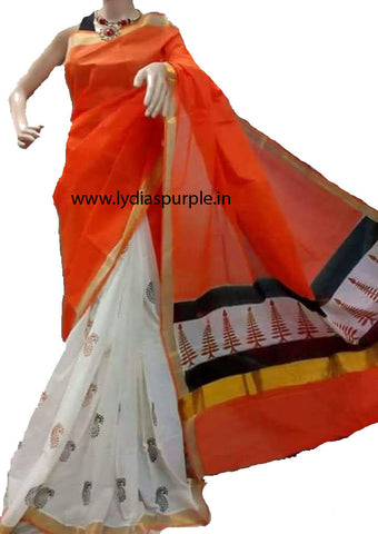 KHPDRYW01-Kerala hand block print orange and white saree - LydiasPurple