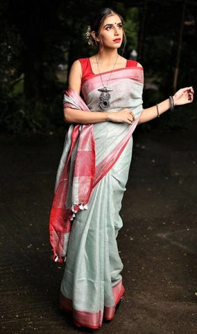 Faded gray linen saree - lydiaspurple