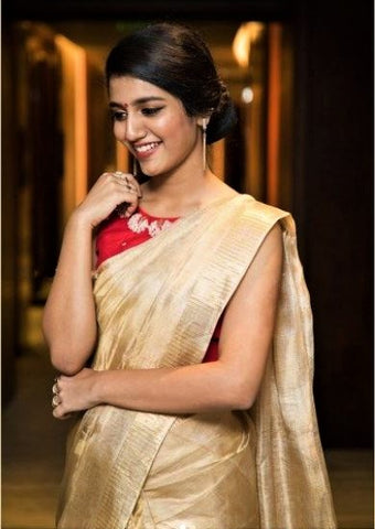 golden tissue linen saree - lydiaspurple