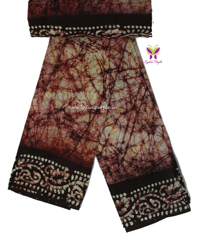 CBCMBRPB-  crack bathik cotton malmal  saree - LydiasPurple