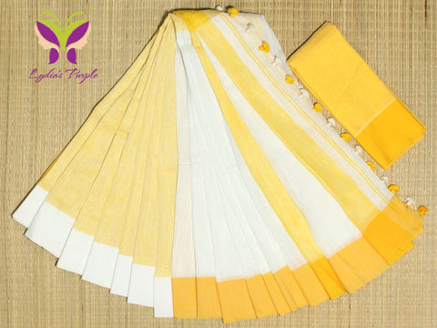 HKBD01-handloom khadi cotton white and yellow saree with running blouse
