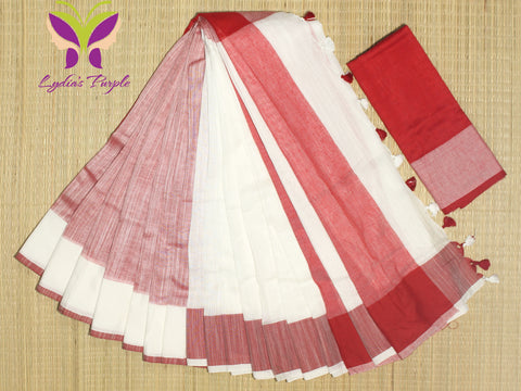 HKBD02-handloom khadi cotton white and whitish red with running blouse
