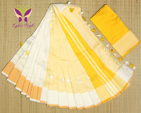 HKBD03-handloom khadi cotton white and muskmelon yellow saree  with running blouse