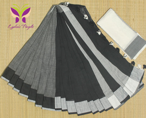 HKBD04-handloom khadi cotton stone grey and black saree  with running blouse