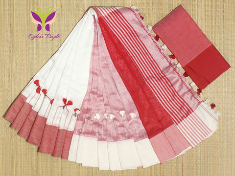 HKBD05-handloom khadi white and whtish red cotton saree  with pompom on shoulderand running blouse