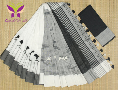 HKBD06-handloom khadi white,black and grey cotton saree  with pompom on shoulderand running blouse