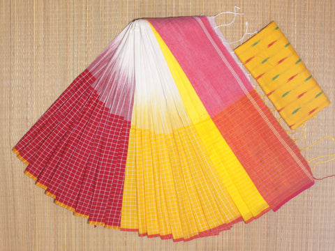 IKIB02- pure handloom ikkat patterned  khadi cotton saree with running blouse and designer ikkat blouse