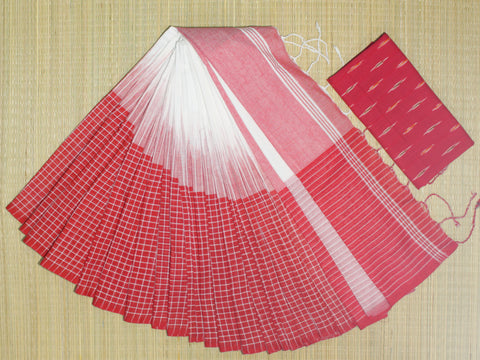IKIB06- pure handloom ikkat patterned  khadi cotton saree with running blouse and designer ikkat blouse