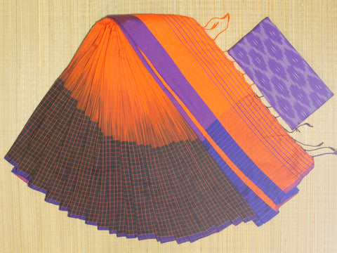 IKIB10- pure handloom ikkat patterned  khadi cotton saree with running blouse and designer ikkat blouse