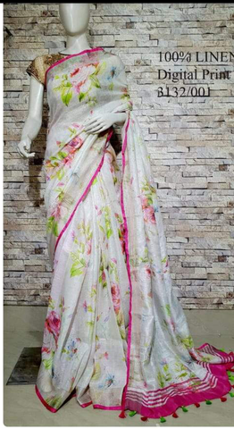 DPL69-Multi colour handloom digital printed linen saree with blouse
