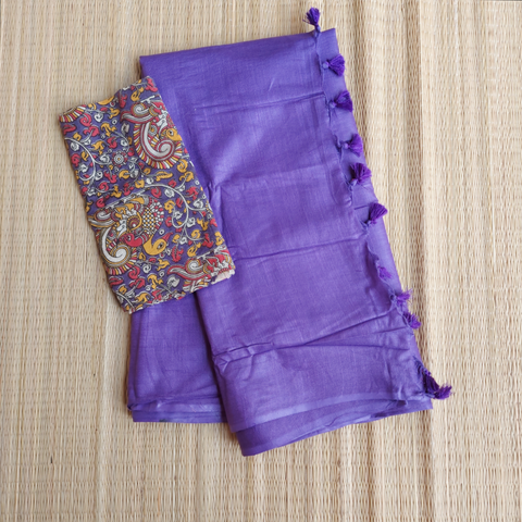 pkpkb01-handloom purple khadi cotton saree with running blouse and ikkat blouse