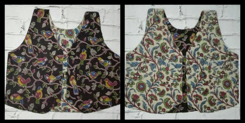 KRWC05- comteporary traditional reversible kalamkari waist coat - Lydiaspurple