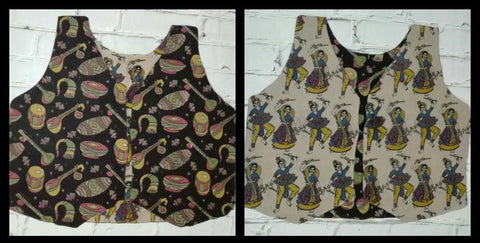 KRWC01- comteporary traditional kalamkari reversible waist coat - Lydiaspurple