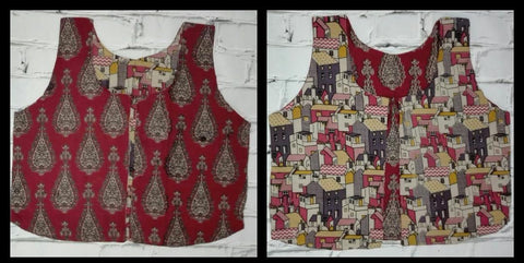KRWC07- comteporary traditional reversible kalamkari waist coat - Lydiaspurple