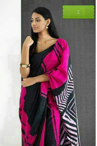 RPSBCS-rani pink hand bathik cotton saree - Lydiaspurple