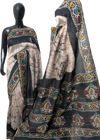 GSDCS-grey shibori dyed chanderi silk saree - Lydiaspurple