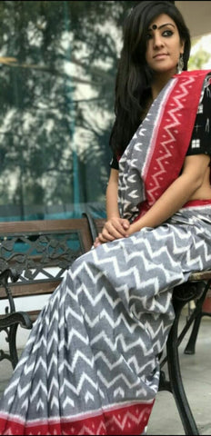 KPIPMCS3-designer ikkat pattern block printed malmal grey cotton saree with black blouse