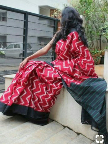 KPIPMCS4-designer ikkat pattern block printed malmal red cotton saree with black blouse