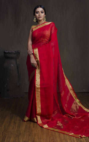 BHLSR01-red linen saree with golden zari border