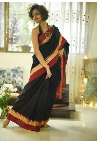 TKBRCS- soft temple border black and red khadi cotton saree with contrast blouse