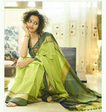 TKPGNBCS- soft temple border parrot green and navy blue khadi cotton saree with contrast blouse