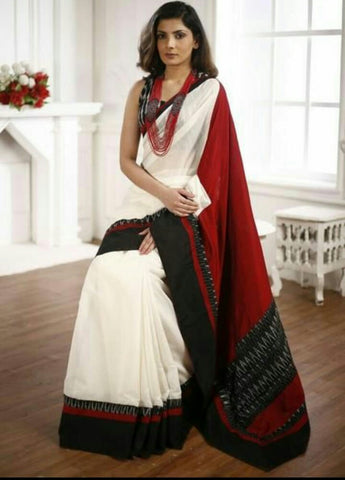 KMCRBVS-designer white and black shibori malmal cotton saree with blouse