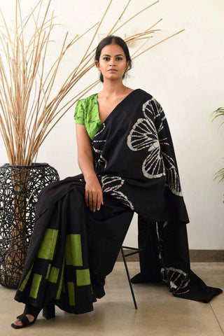 KMCRBVS- Designer black and green shibori malmal cotton saree with blouse