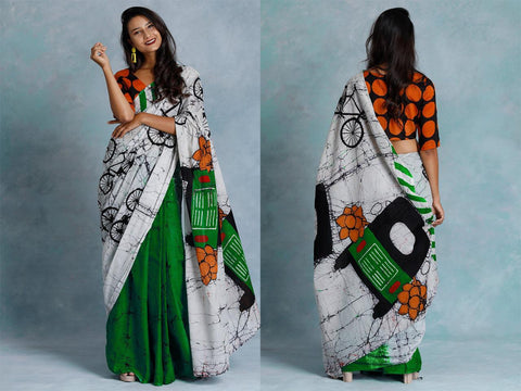 DGBLW-designer green,black and white  malmal cotton saree with blue blouse