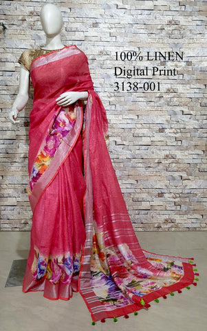 DPL01-Multi colour handloom digital printed linen saree with blouse