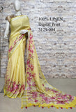 DPL03-Multi colour handloom digital printed linen saree with blouse