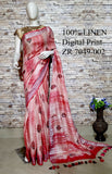 DPL04-Multi colour handloom digital printed linen saree with blouse