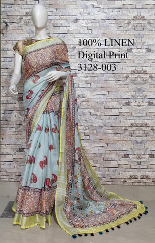 DPL05-Multi colour handloom digital printed linen saree with blouse