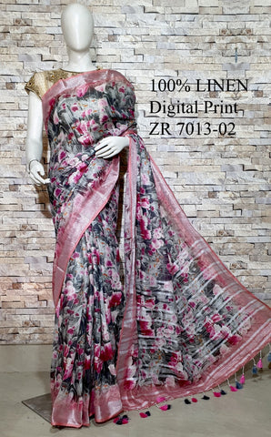 DPL06-Multi colour handloom digital printed linen saree with blouse