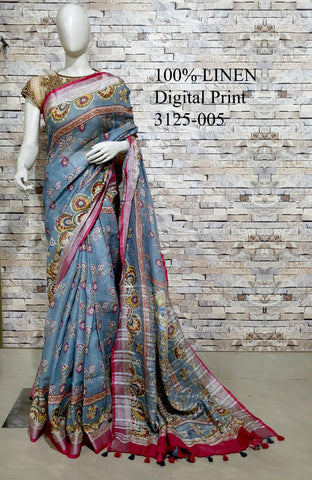 DPL07-Multi colour handloom digital printed linen saree with blouse
