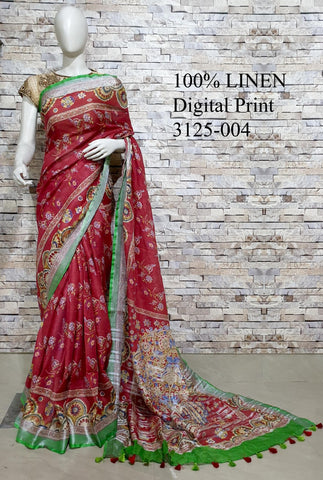 DPL08-Multi colour handloom digital printed linen saree with blouse