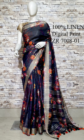 DPL09-Multi colour handloom digital printed linen saree with blouse