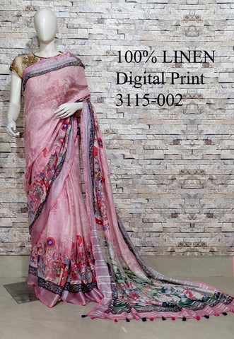 DPL11-Multi colour handloom digital printed linen saree with blouse
