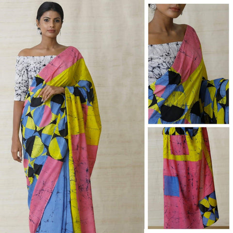 DMCS02- Designer multi colour  malmal cotton saree with blouse