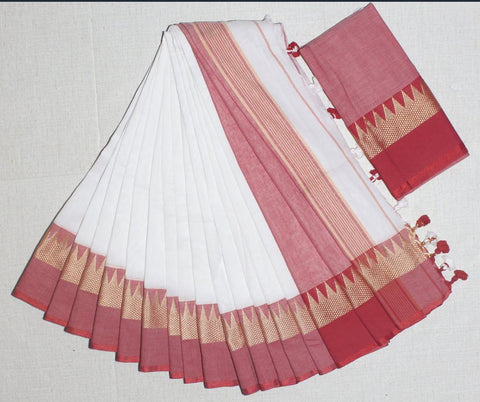 TKWRKCS- soft temple border  white and red  khadi cotton saree with contrast blouse