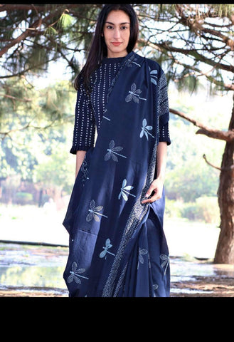 DMCS14- Designer multi indigo malmal cotton saree with blouse