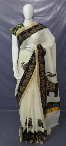 kalamkari applique work saree