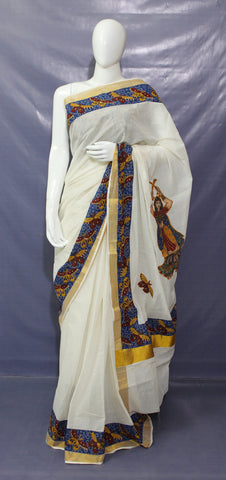LPKCAPS03-kerala cotton saree with kalamkari border and applique work