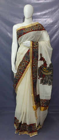 LPKCAPS01-kerala cotton saree with kalamkari border and applique work