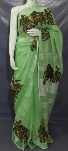 LKPG01- Green linen saree with  kalamkari applique work and running blouse