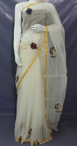 OKCKAP- Off white Kota saree with  kalamkari applique work and running blouse