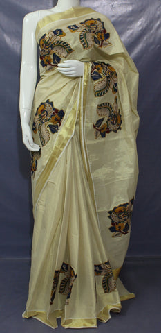 KGTKP- Kerala golden tisssue saree with  kalamkari applique work and running blouse