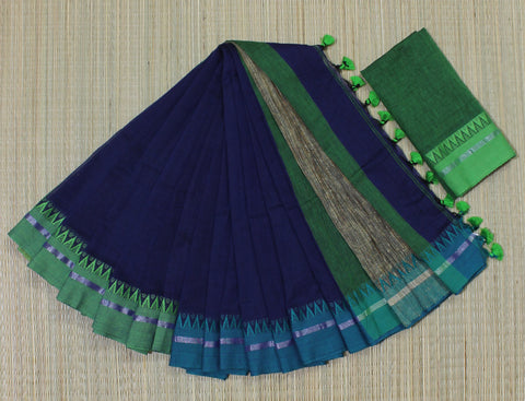 KGJNB01-handloom navi blue khadi cotton ganga jamuna border saree with running blouse